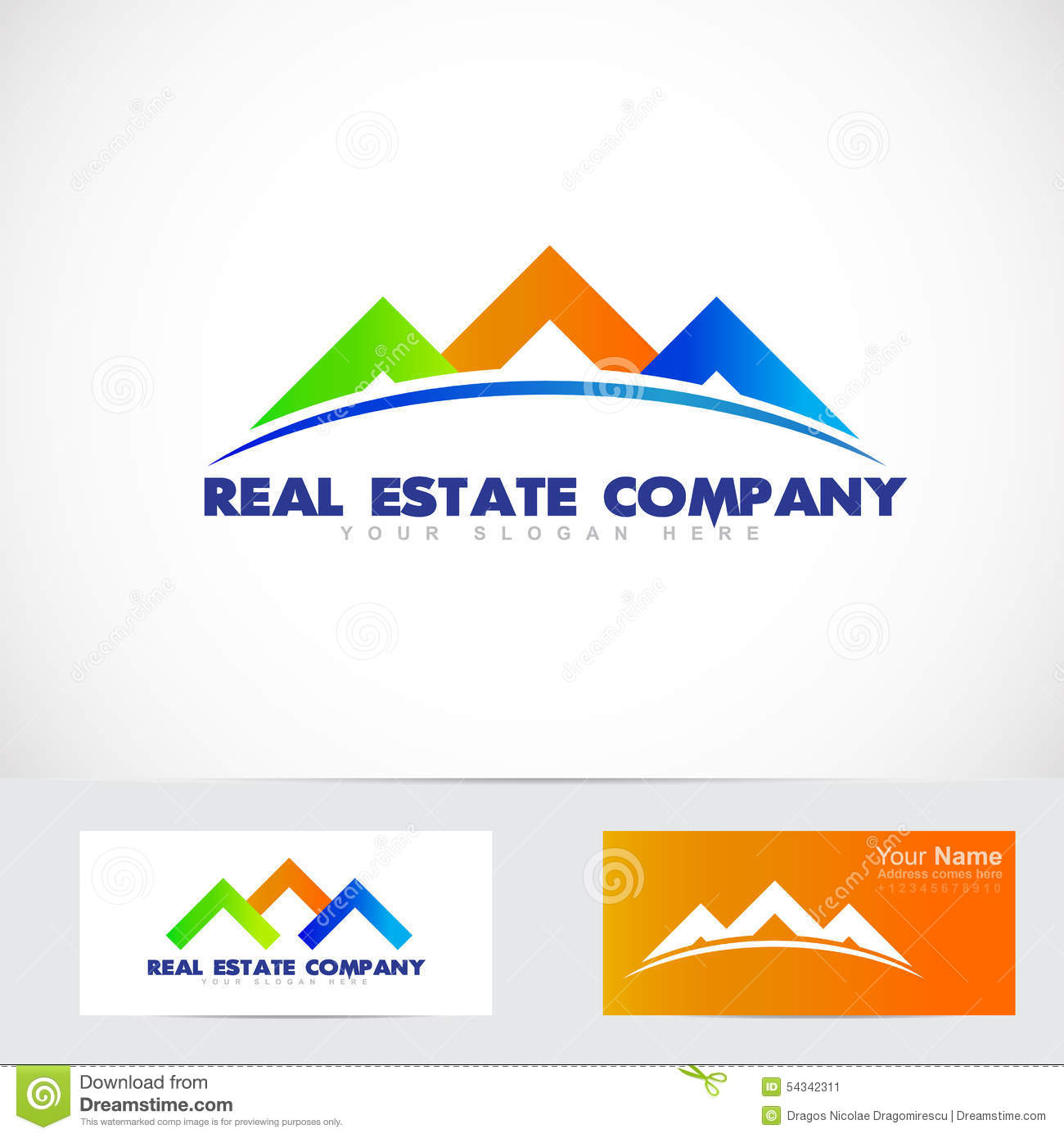 Colored house real estate logo stock vector image 54342311 for Companies housse