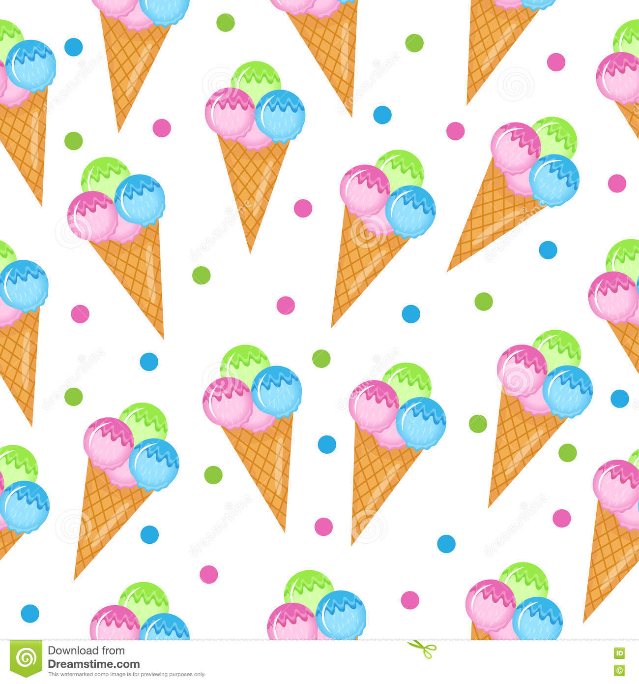 Pattern Cute Colorful Ice Cream Textiles Stock Vector: Colored Ice Cream Seamless Texture. Balls Ice Cream Cone