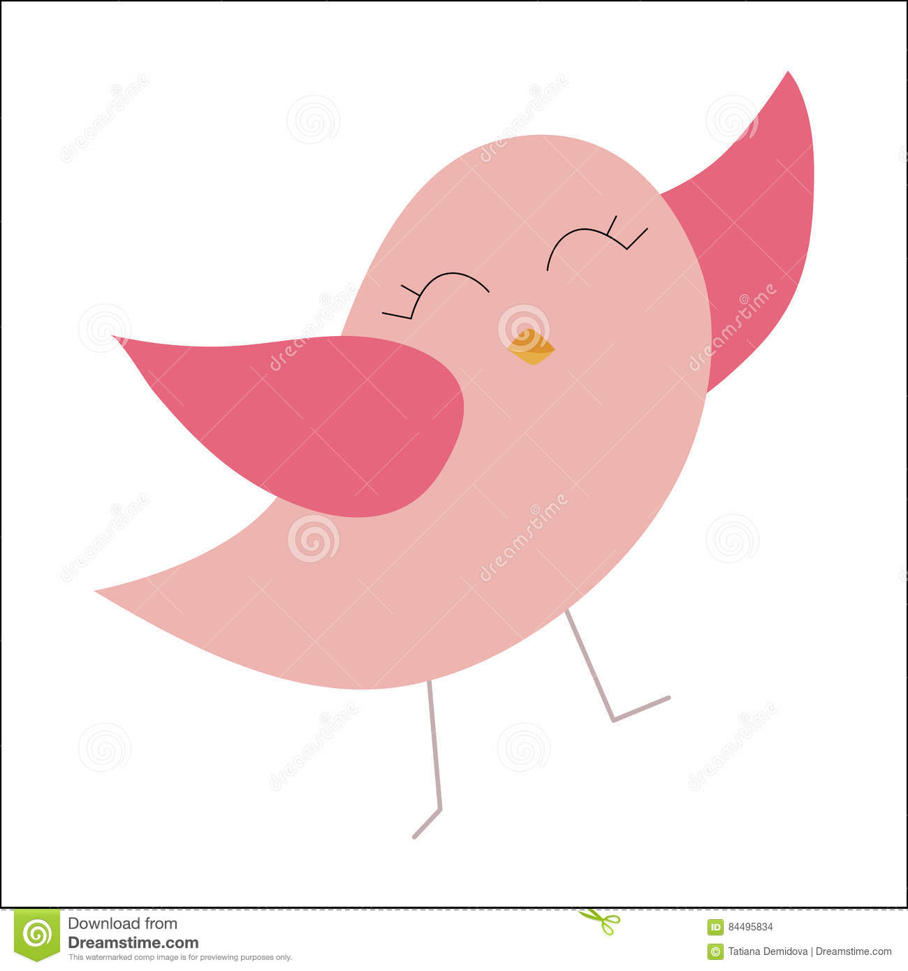 colored icon baby happy pink bird template stickers badges or