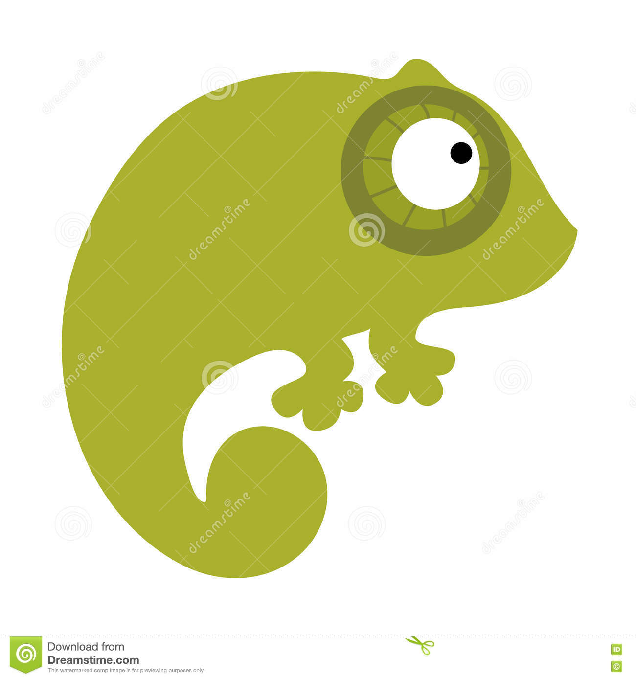 Colored Icon Cute Baby Green Chameleon Stock Vector - Illustration ...