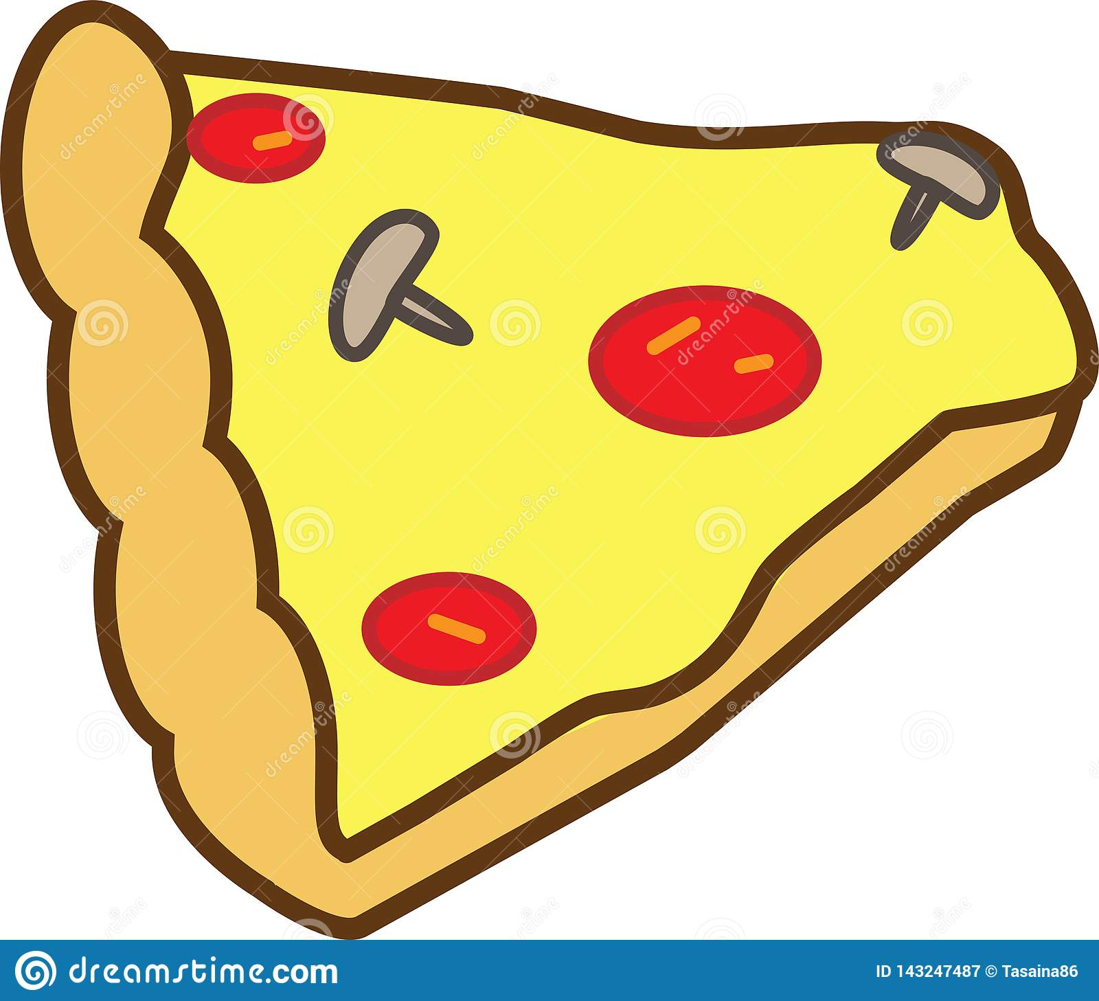 The colored icon is not a whole slice of pizza with mushrooms, tomatoes and cheese