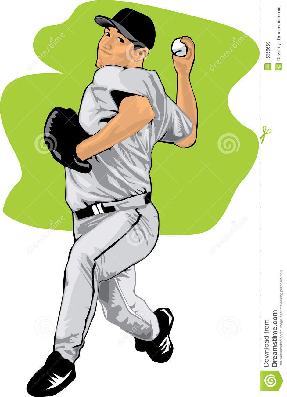 Colored Illustration Of A Baseball Pitcher Royalty Free ...