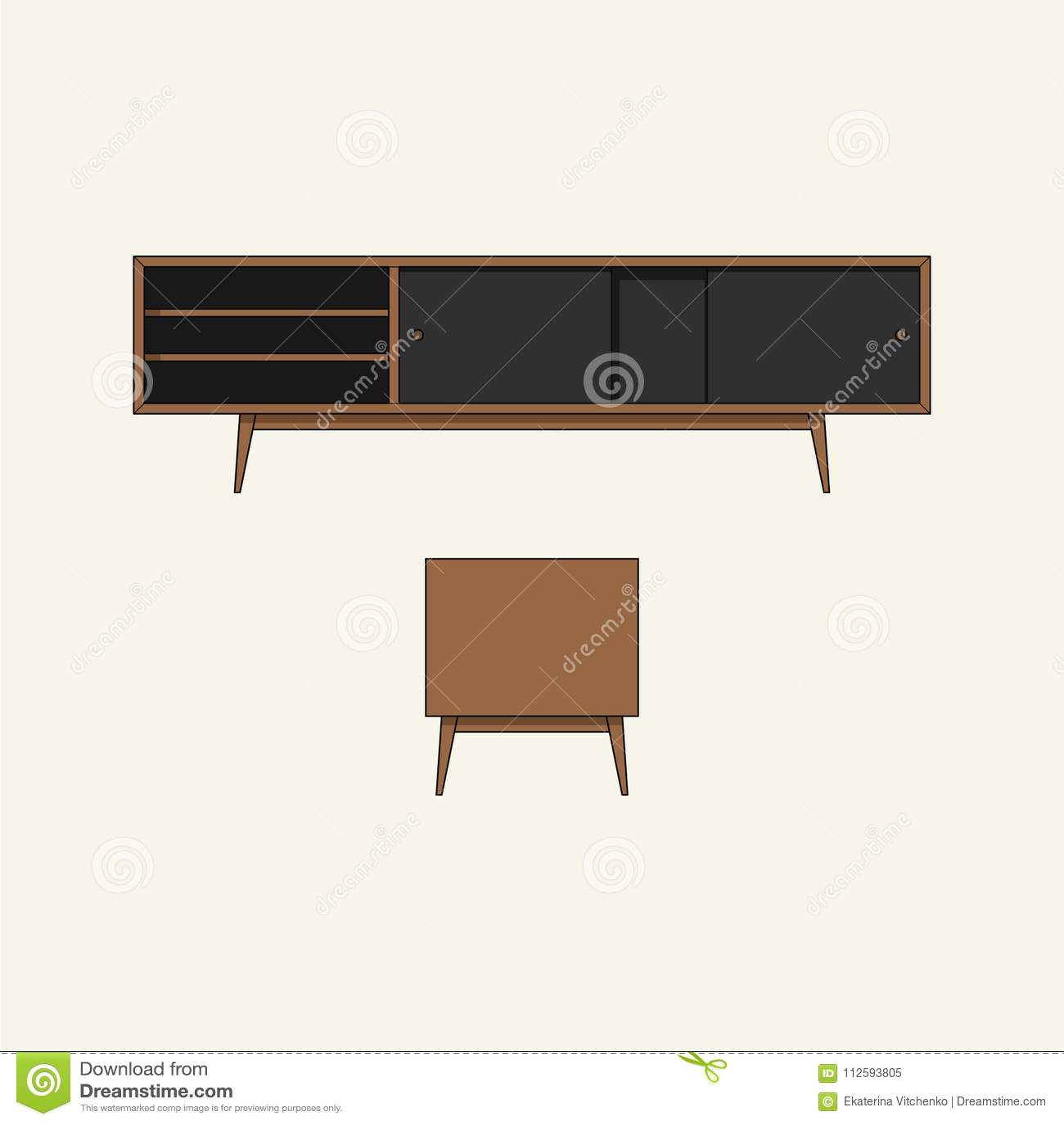 Download Wooden TV Table Stock Vector. Illustration Of Doors   112593805