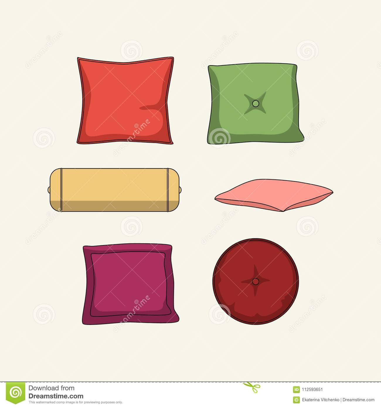 Magnificent Set Of 6 Colored Pillows For Home Stock Vector Forskolin Free Trial Chair Design Images Forskolin Free Trialorg