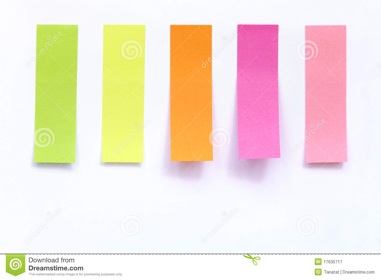 Colored Index Paper Stick On White Stock Image