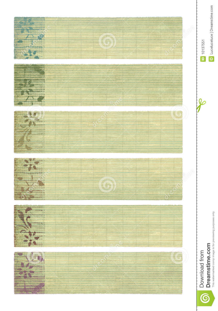Colored Ink Flower Print On Bamboo Paper Banners Stock