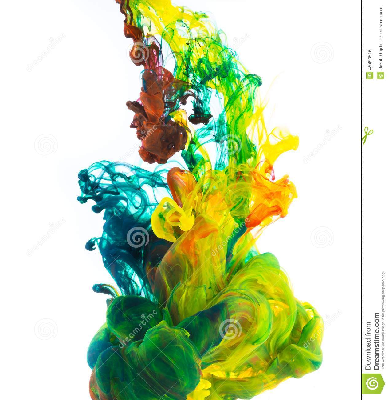 colored ink isolated on white background stock photo