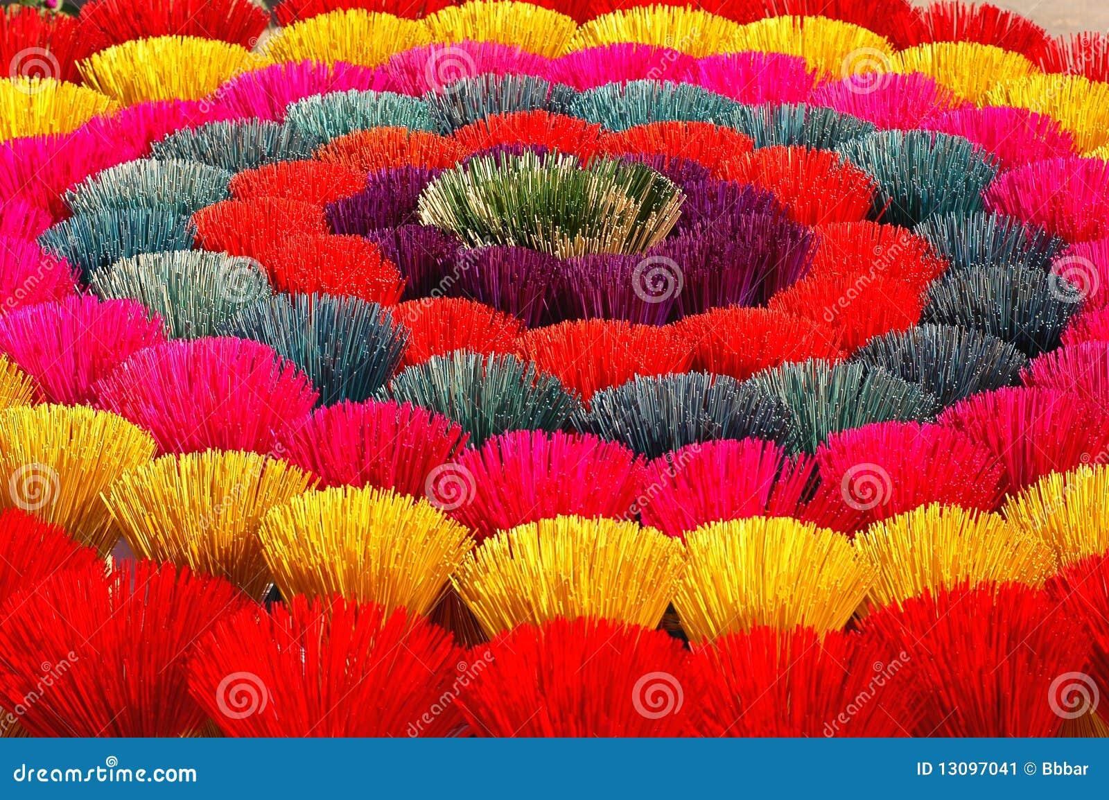 Colored joss sticks in Vietnam