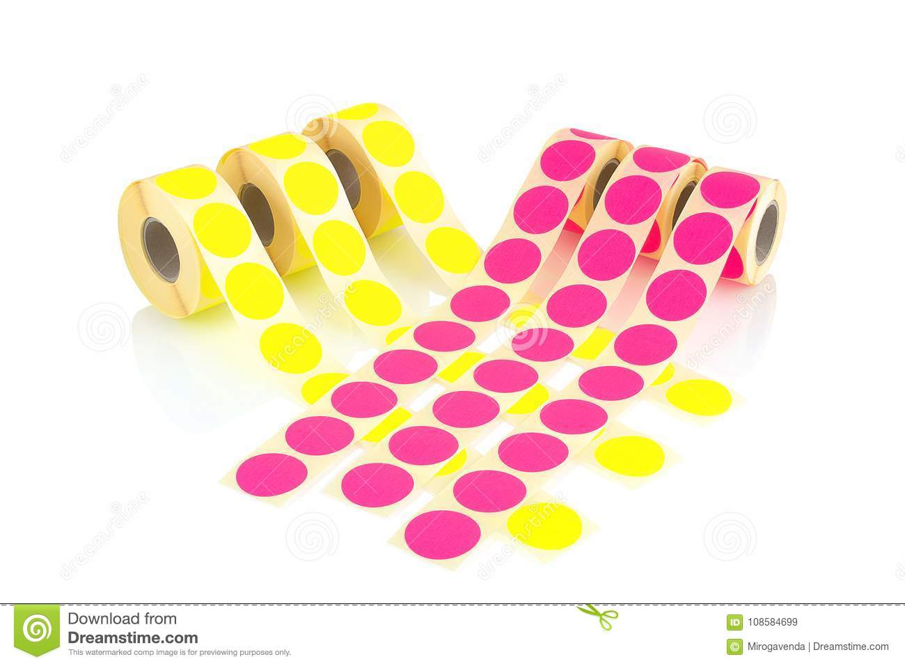 Colored label rolls isolated on white background with shadow reflection. Color reels of labels for printers. Labels for direct the