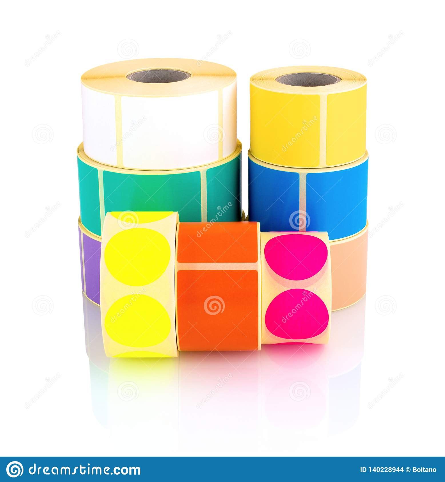 Colored label rolls isolated on white background with shadow reflection. Color reels of labels for printers.