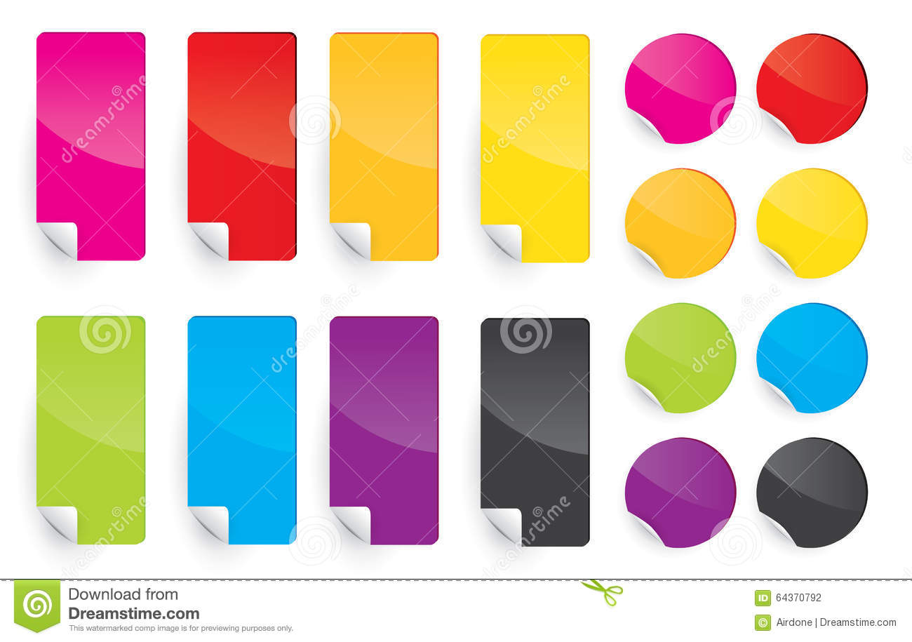 Colored Label Sticky Paper stock vector  Illustration of