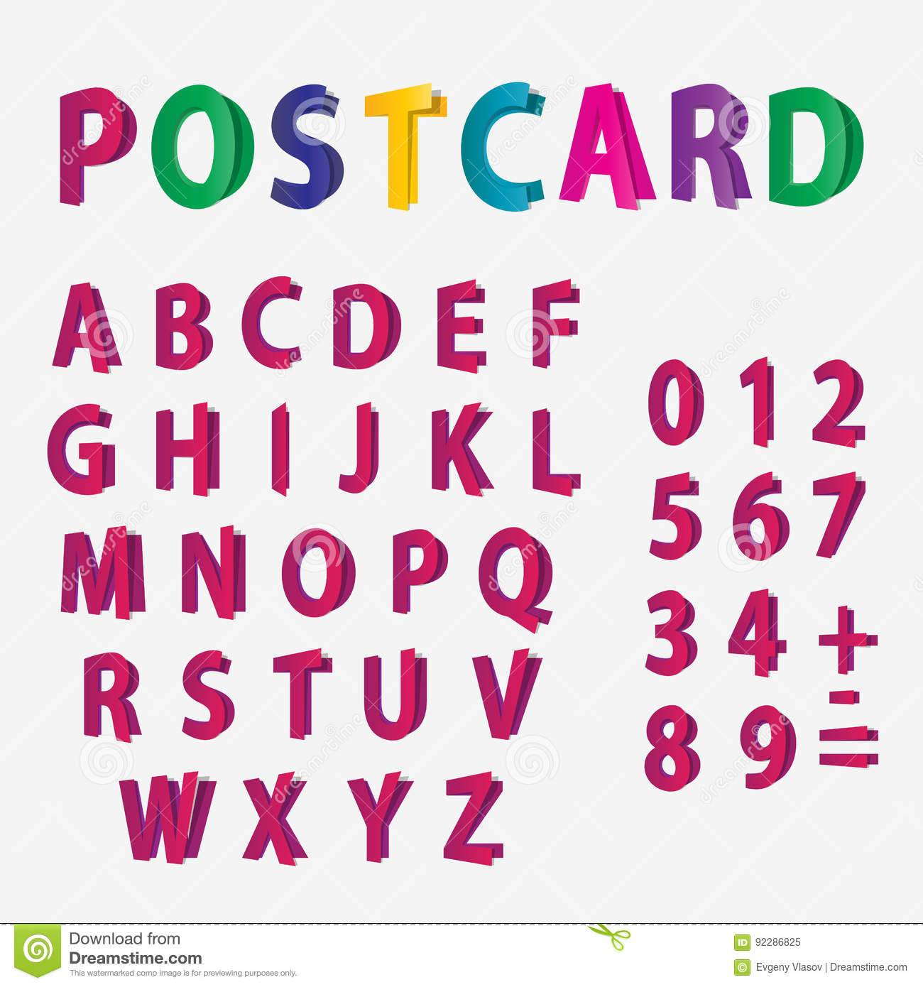 Colored Letters Of The Alphabet And Numbers Look Like Postcards ...