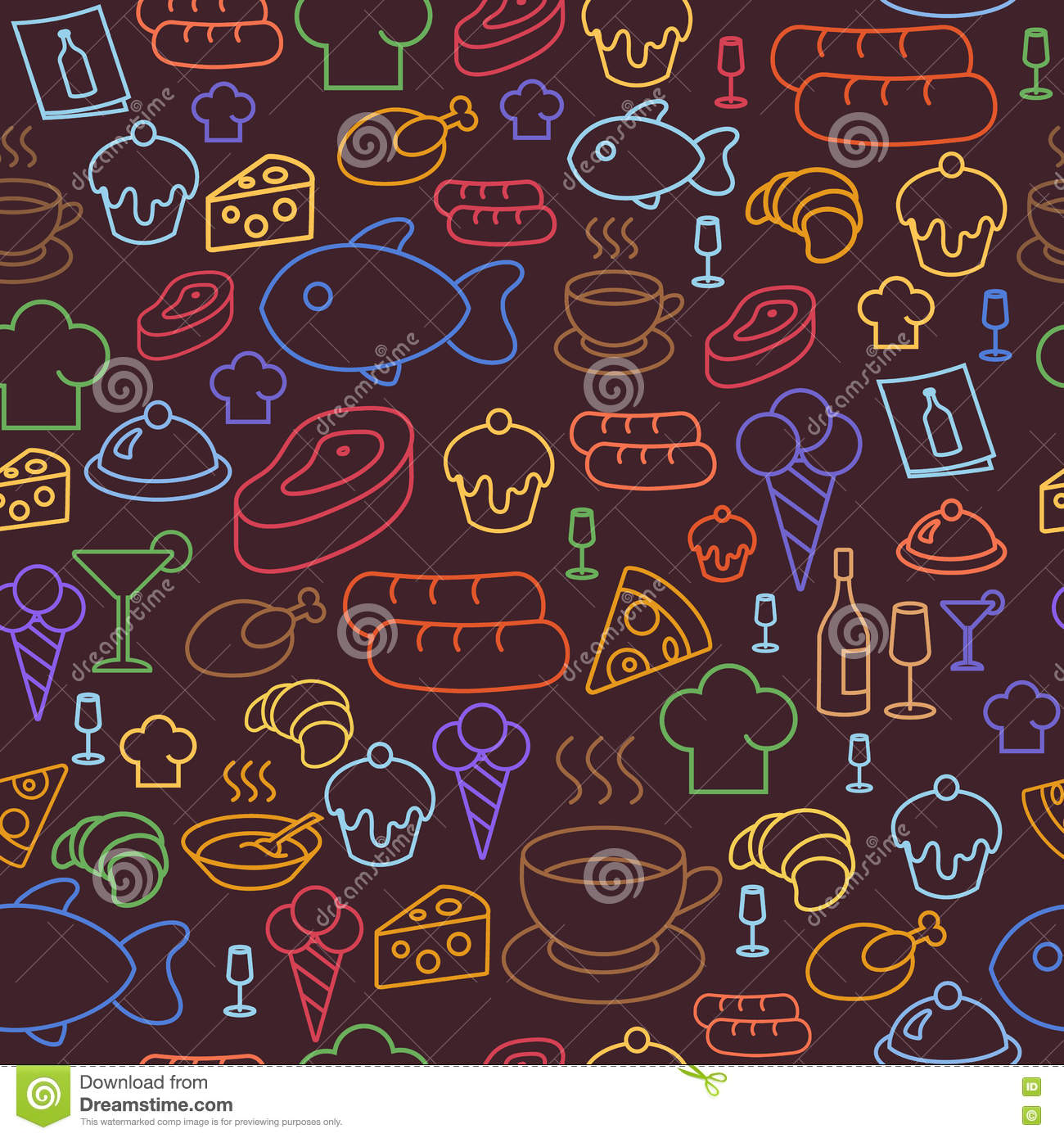 Seamless Wallpaper Pattern With Ice Cream Icons Stock: Colored Line Icons Of Restaurant And Fast Food Like Coffee