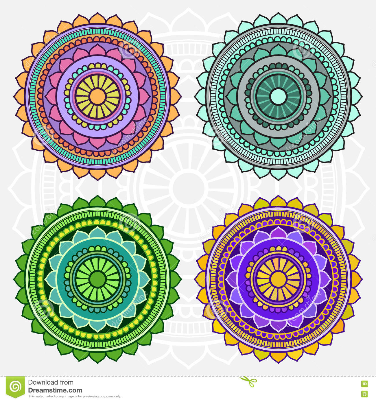 Colored Mandalas Stock Illustration Image Of Kaleidoscope