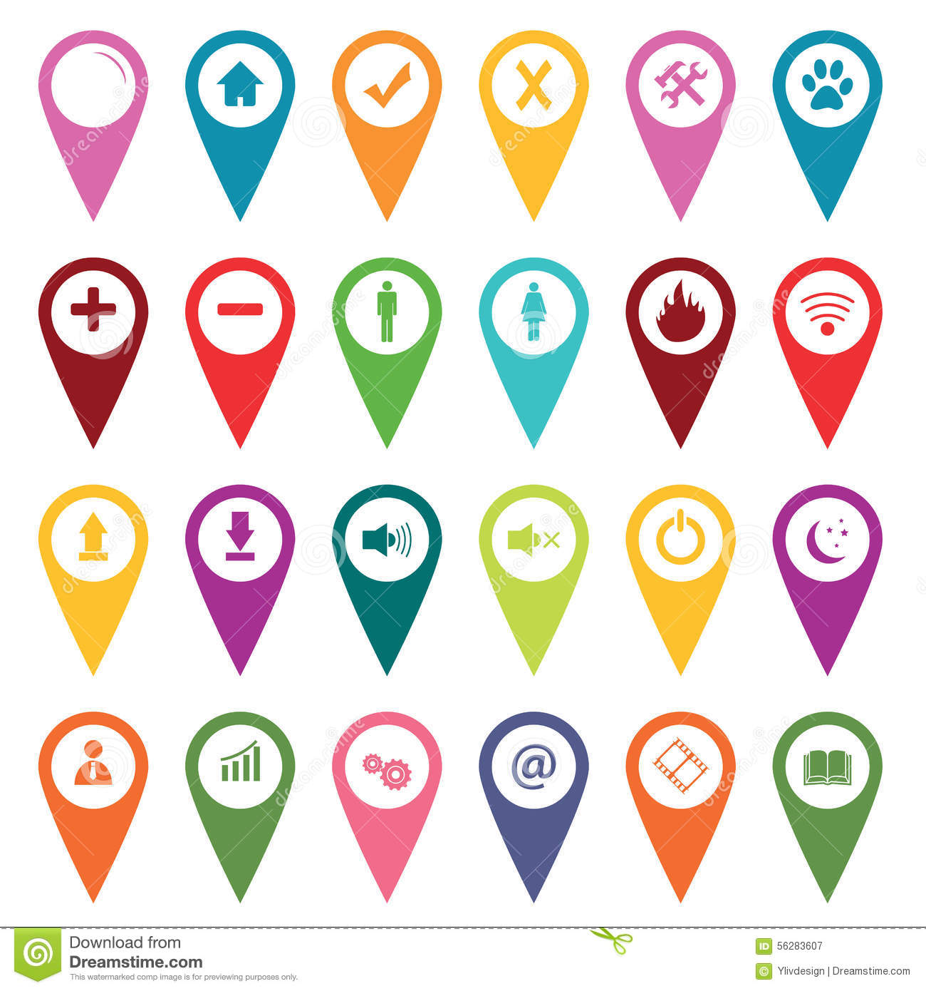 Map Marker Icon Set Colored Map Markers Icon Set Stock Vector   Illustration of