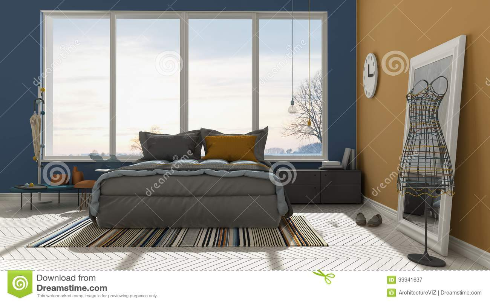 Colored Modern Blue And Orange Bedroom With Big Panoramic Window Sunset Sunrise Architecture Minimalist Interior Design
