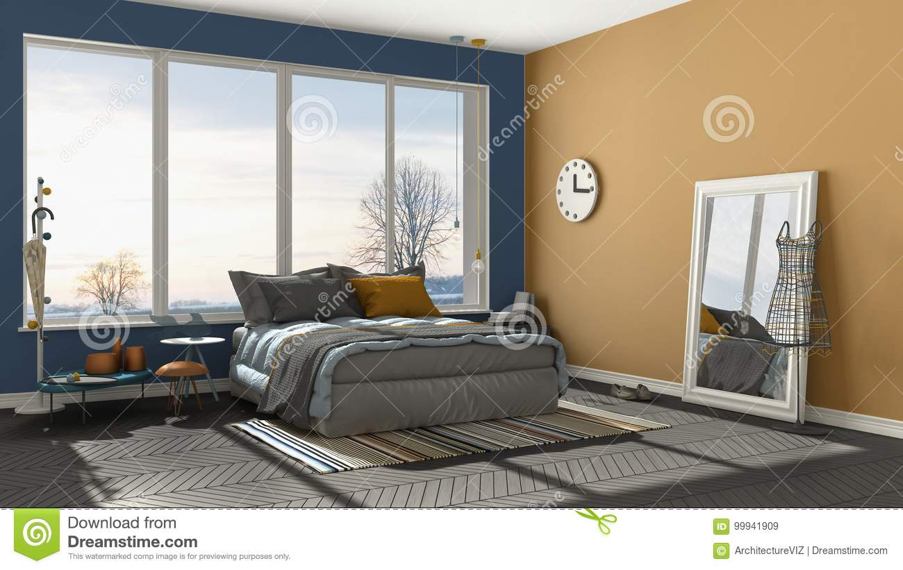 Colored Modern Blue And Orange Bedroom With Big Panoramic Window ...