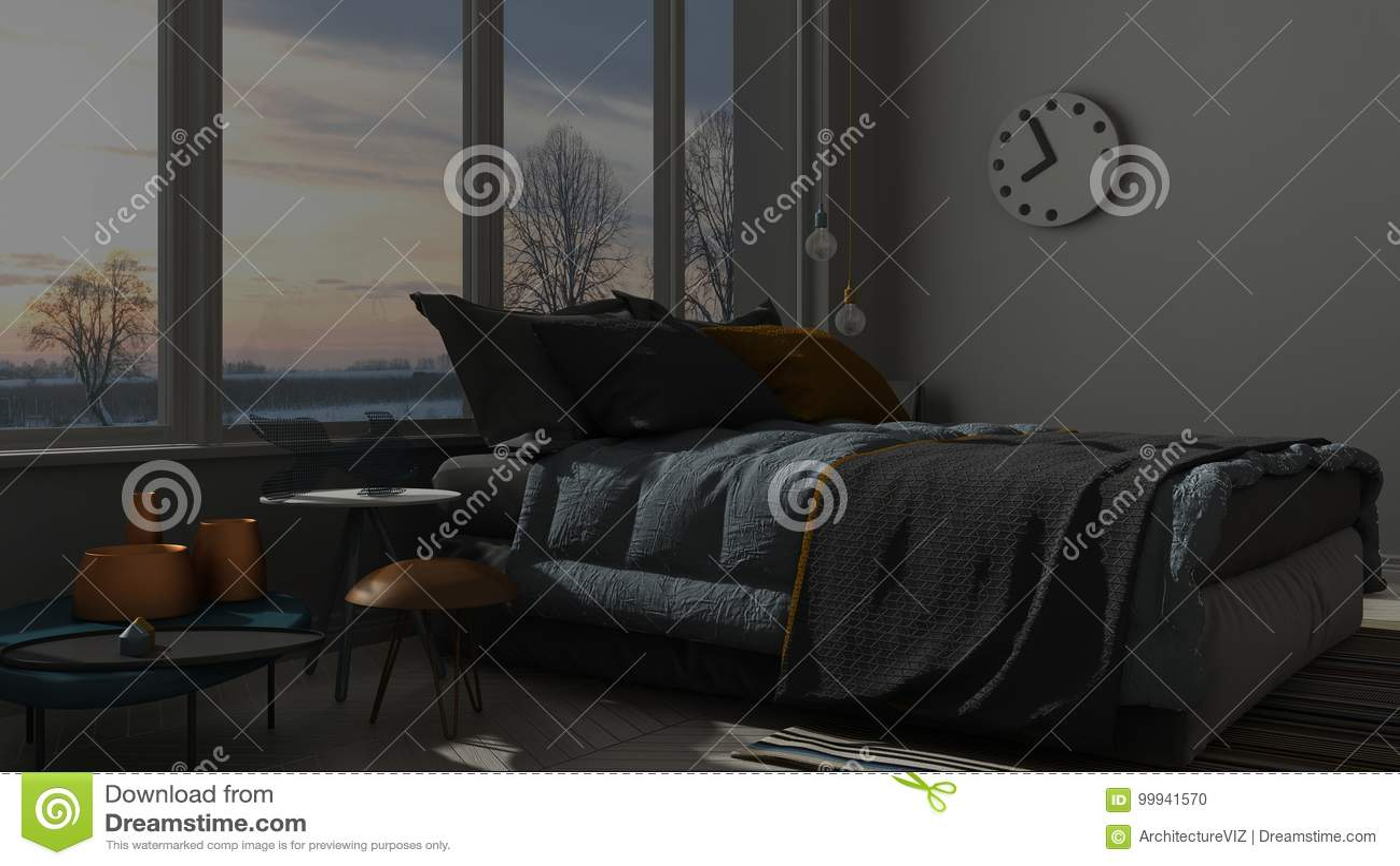 Colored Modern Blue And Orange Bedroom With Big Panoramic Window Sunset Sunrise Night Scene Architecture Minimalist Interior Design