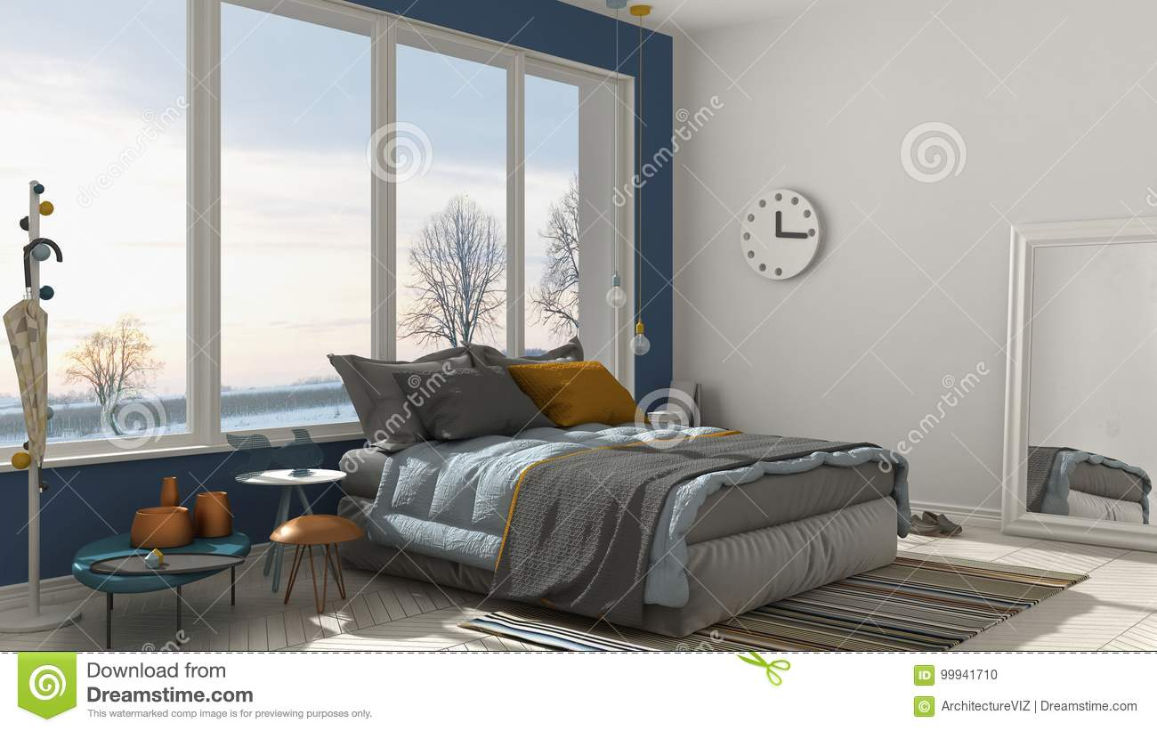 Colored Modern White And Blue Bedroom With Big Panoramic ...