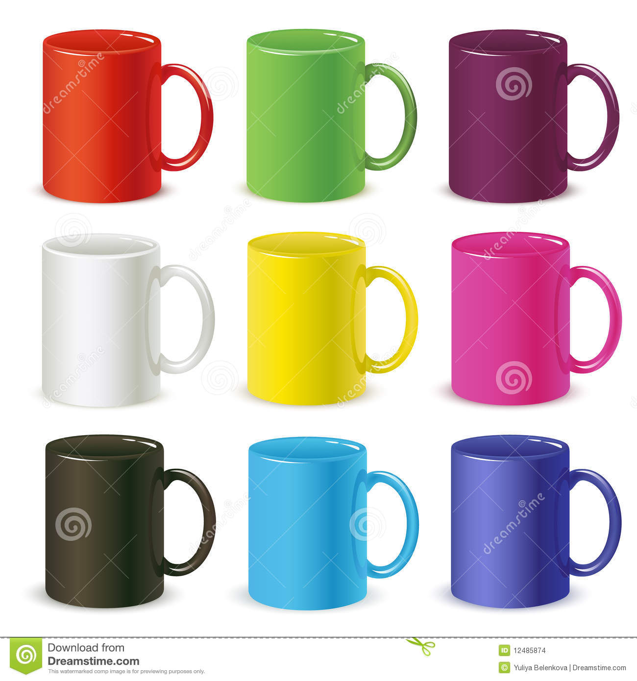 Colored Mugs Stock Images Image 12485874