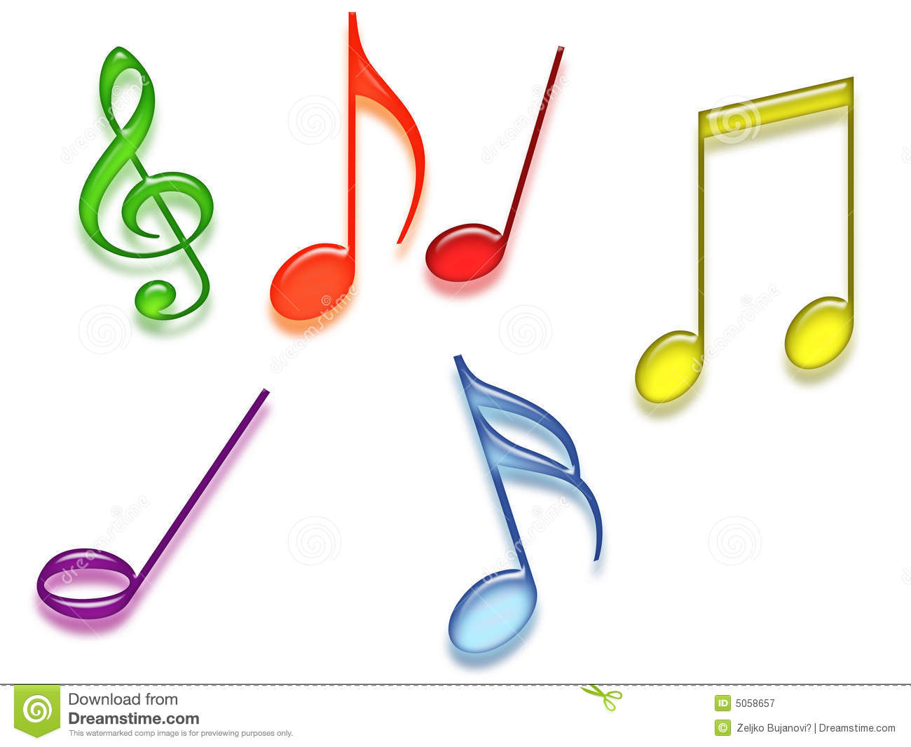 Colored Music Symbols Royalty Free Stock Photography - Image: 5058657