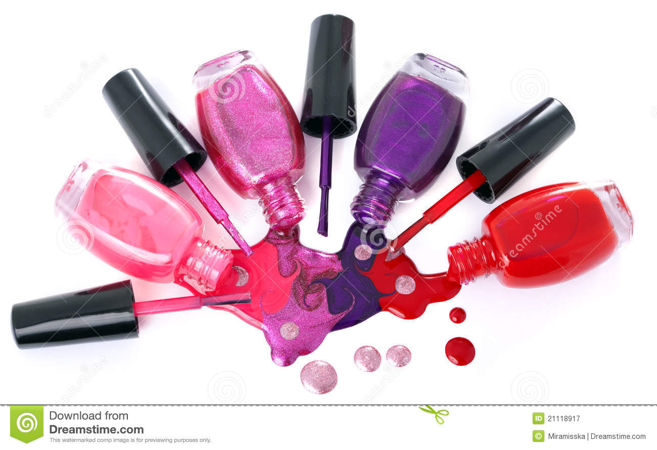 colored nail polish spilling from bottles stock image image of rh dreamstime com nail varnish clipart free Fingernail Painting Clip Art Free
