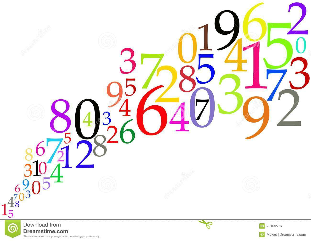 color numbers background - mathematical concept stock illustration