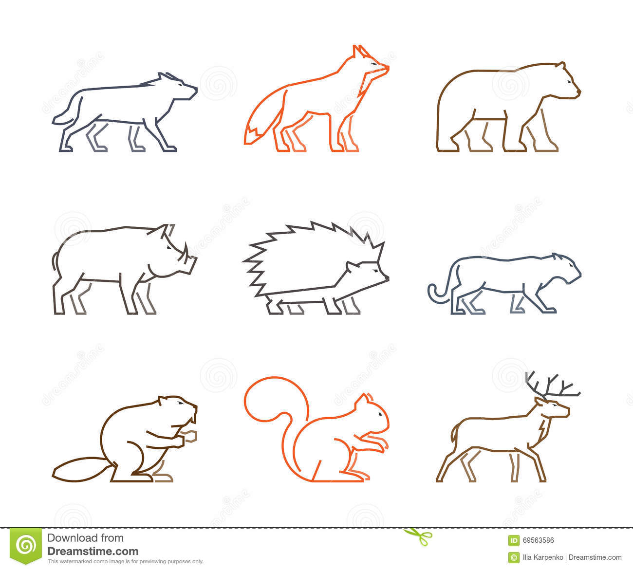 graphic relating to Free Printable Forest Animal Silhouettes titled Coloured Define Fixed Of Forest Pets. Inventory Case in point