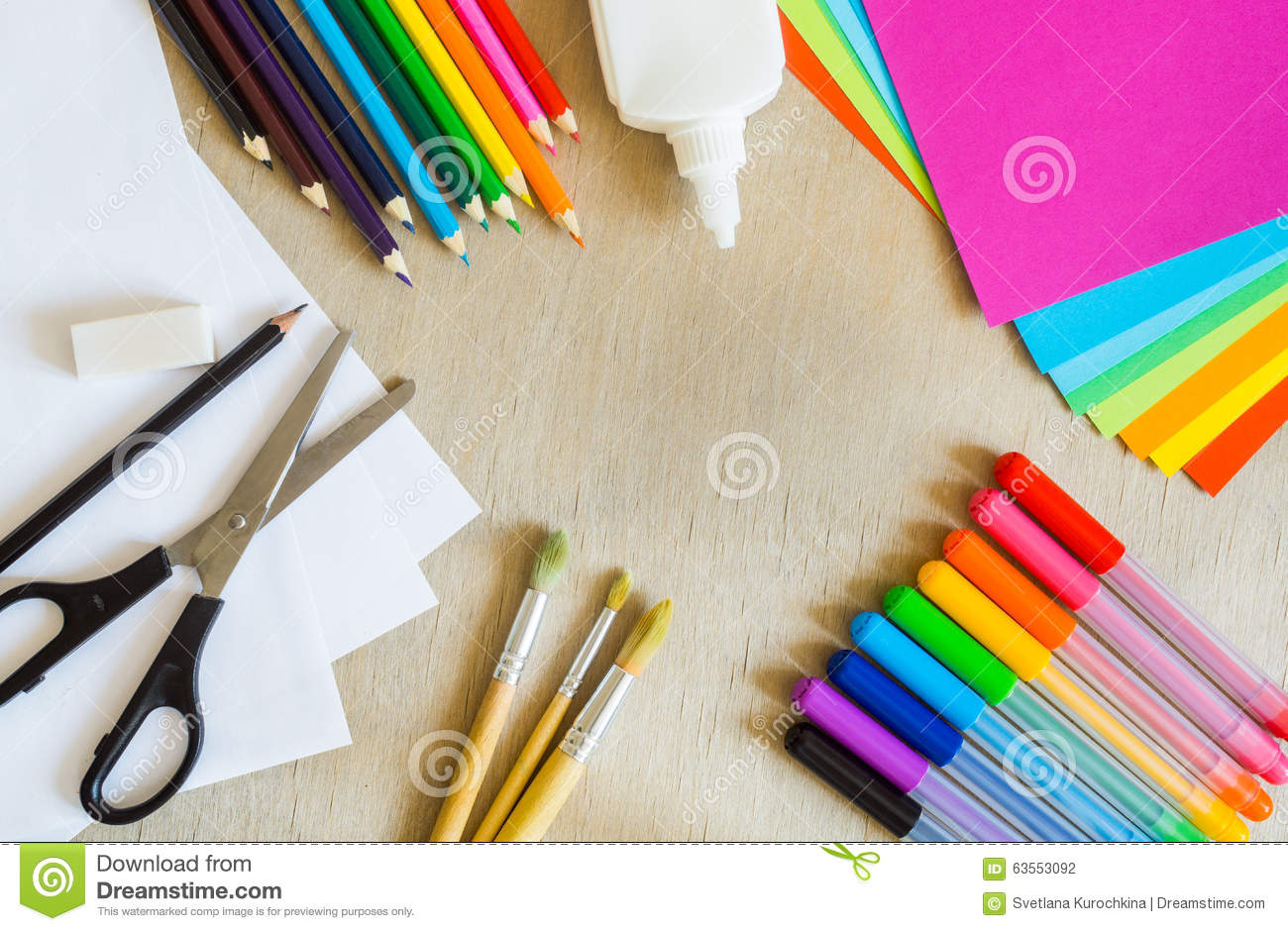 colored paper felt tip pens pencils brushes on wooden. Black Bedroom Furniture Sets. Home Design Ideas