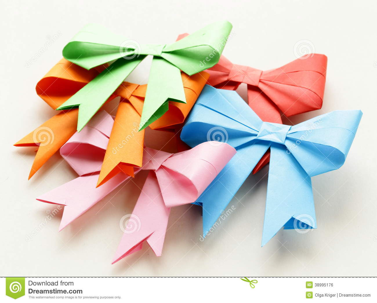 Colored Paper Origami Bows For Holiday Stock Photo Image Of Pink