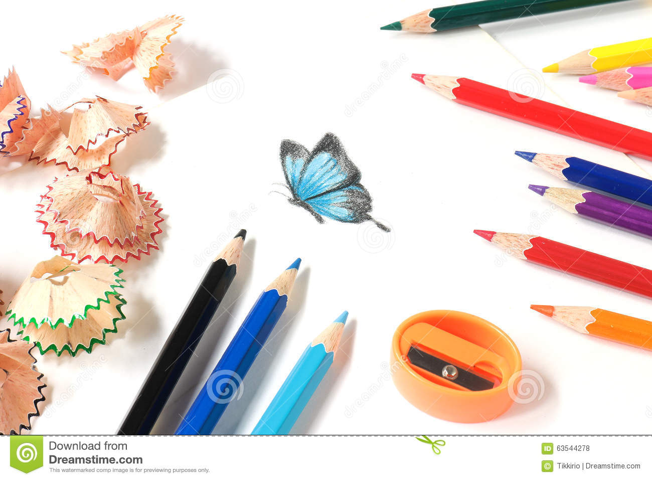 Colored pencil sharpening and butterfly drawing