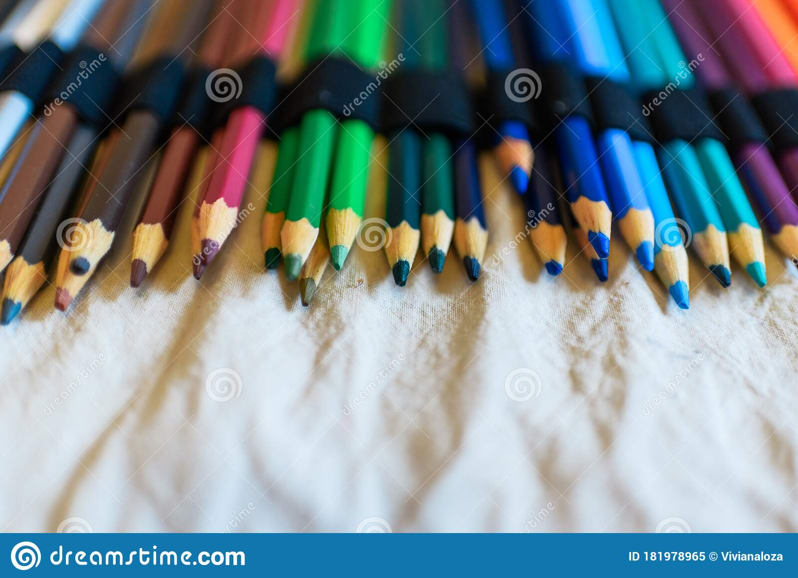 Colored Pencils On Beige Texture Stock Image - Image of ...