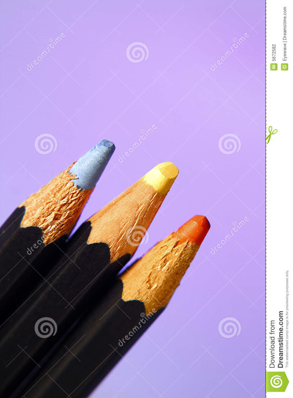 Colored pencils blue yellow or