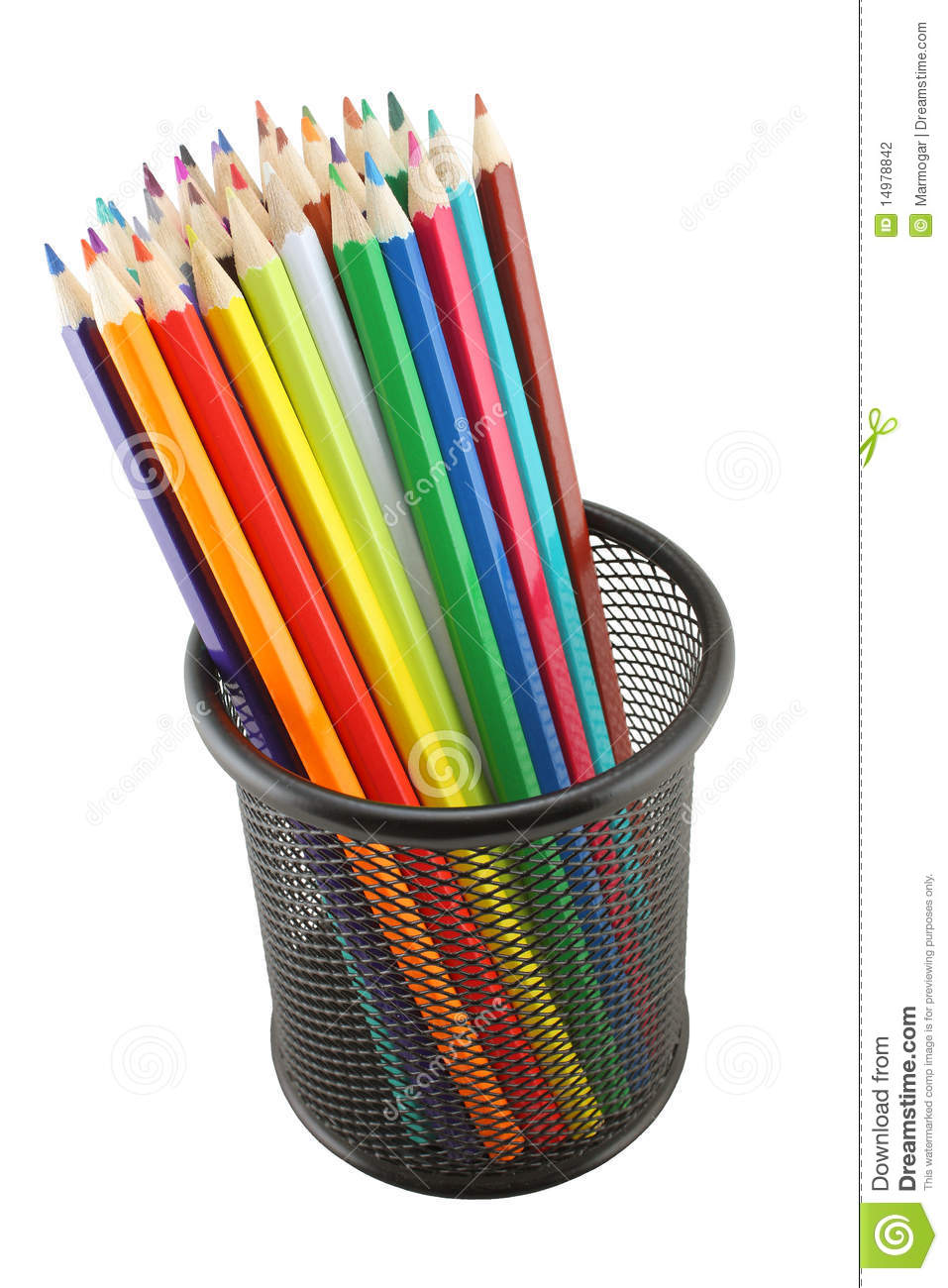 Colored Pencils In Pot Isolated Stock Photography - Image: 14978842