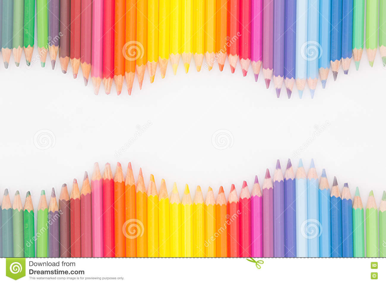 Rainbow colors in order pictures - Colored Pencils In Rainbow Order On White Background Royalty Free Stock Photography
