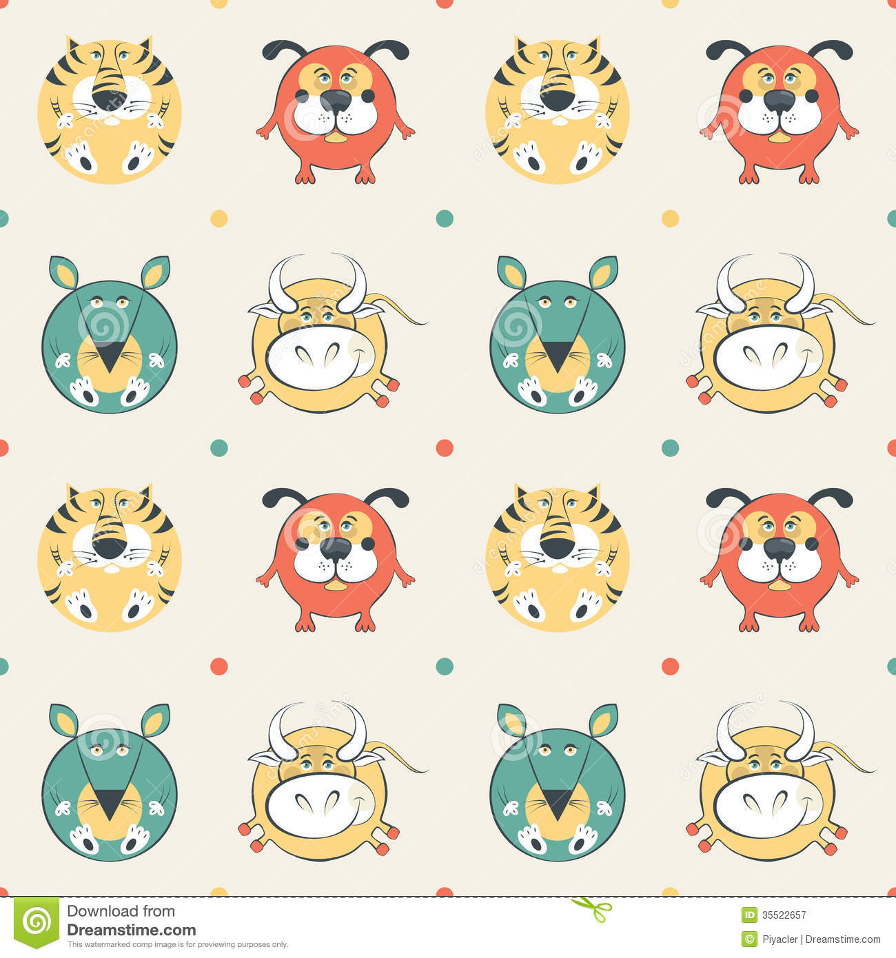 Colored Pets Pattern With Cat, Dog, Mouse And Cow Royalty