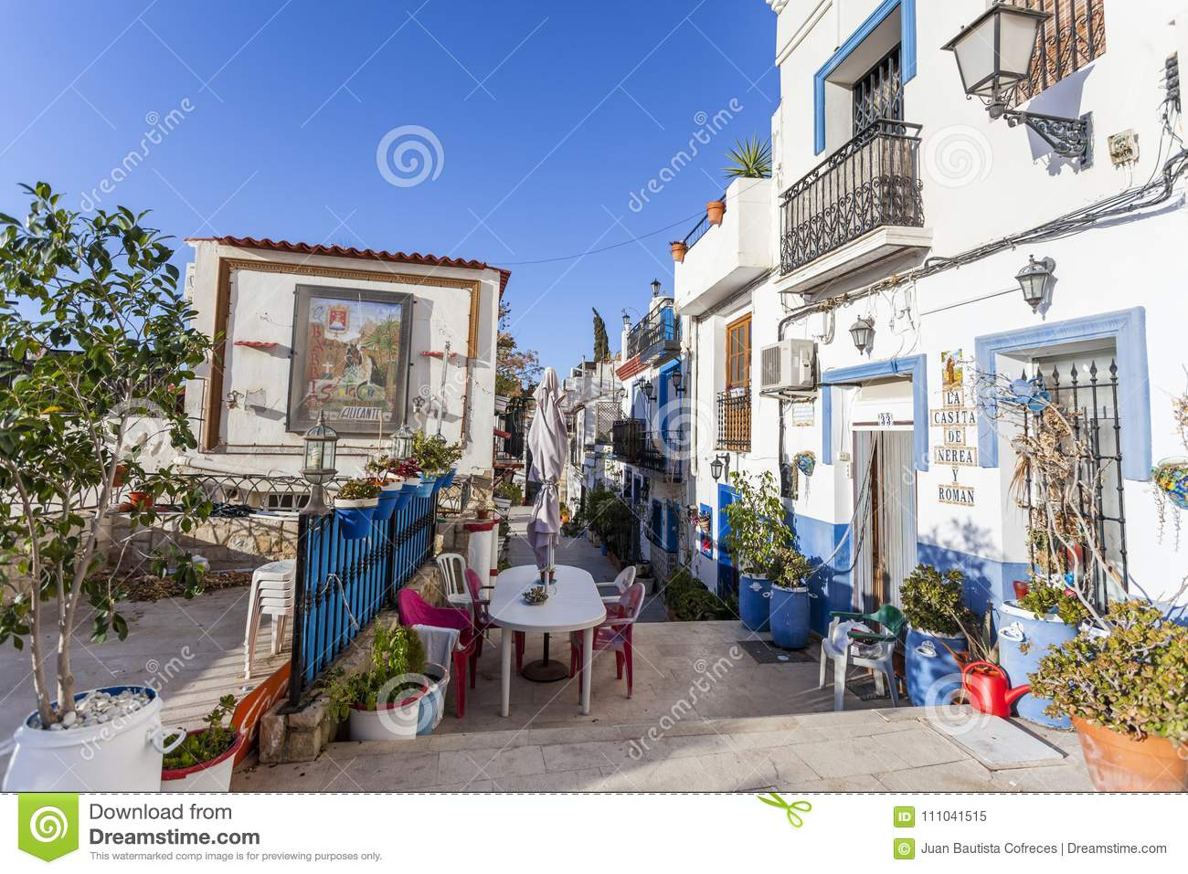 colored picturesque houses streettypical neighborhood historic center casco antiguobarrio santa cruzalicante spain