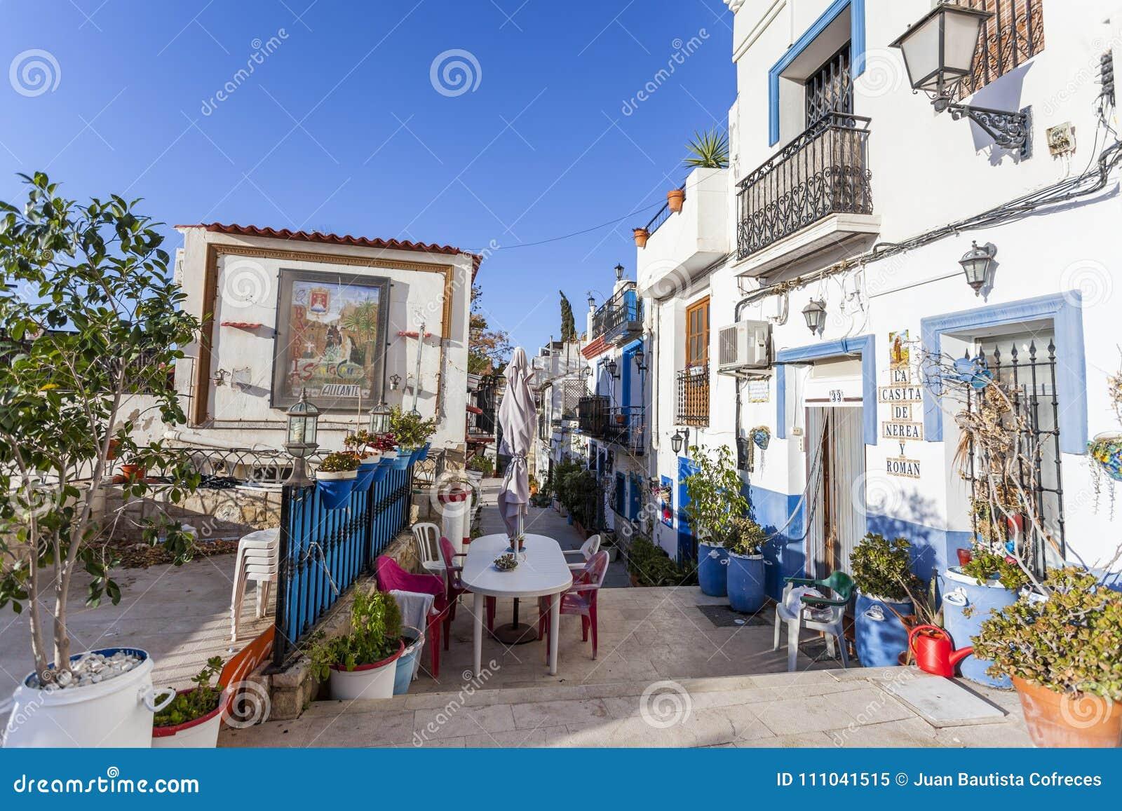 colored picturesque houses streettypical neighborhood historic center casco antiguobarrio santa cruzalicante spain