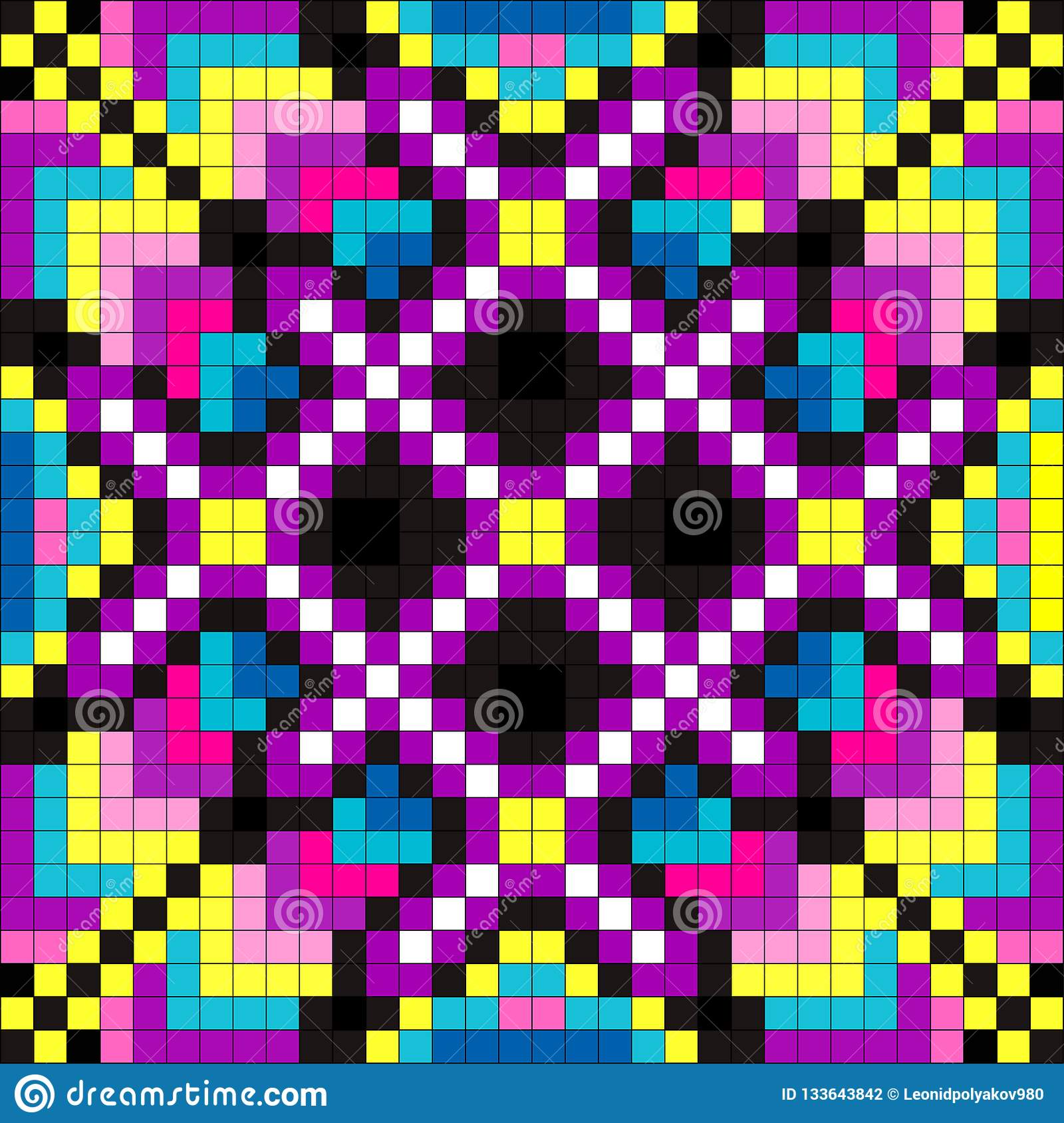 Colored Pixel Psychedelic Background Illustration Stock