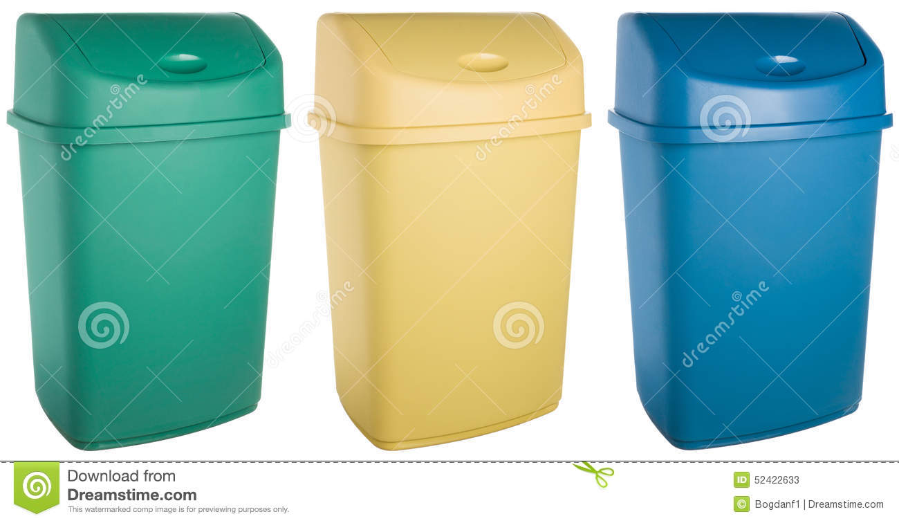 Colored Plastic Selective Trash Can Stock Photo Image