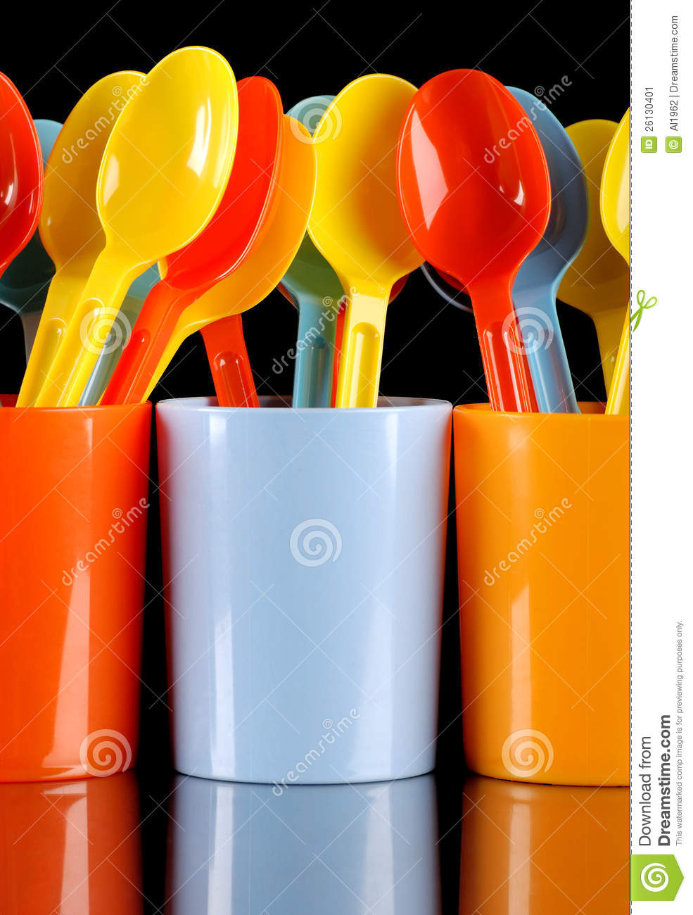 Colorful Spoons: Colored Plastic Spoons Stock Image. Image Of Tableware
