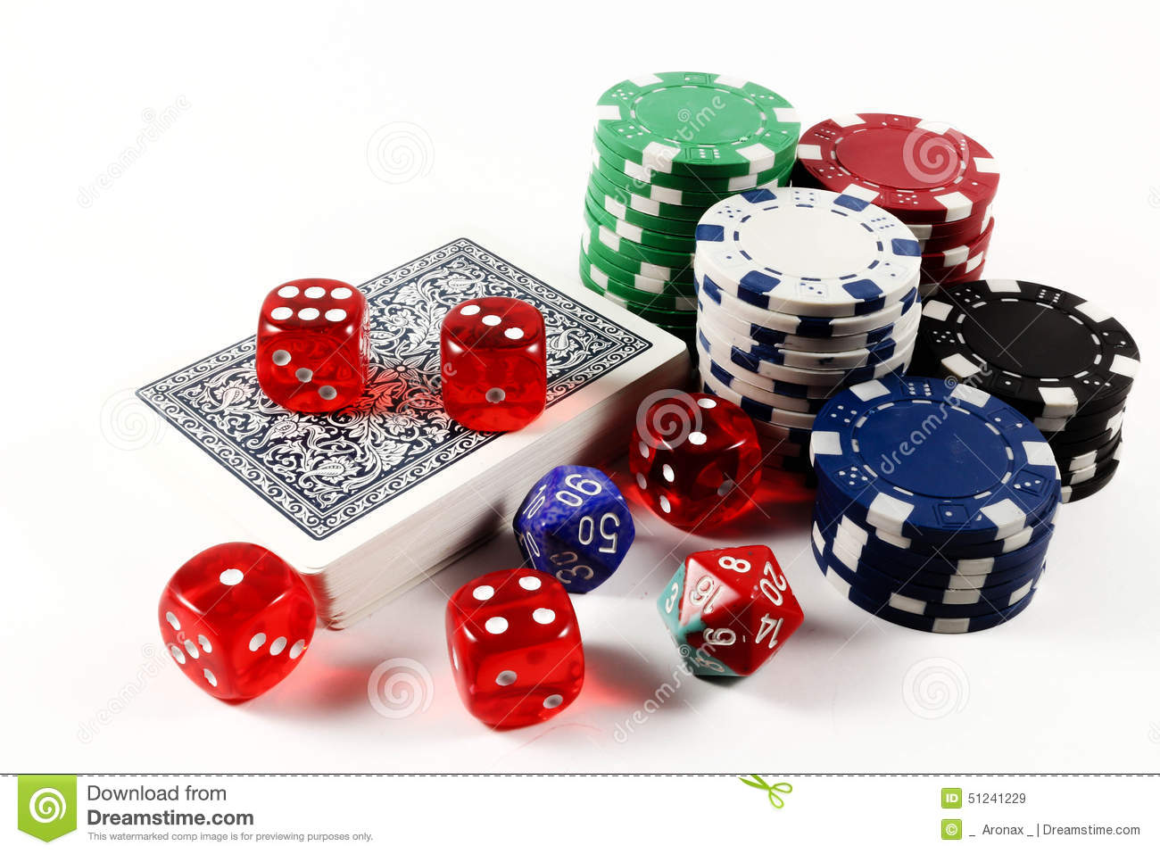 Colored poker chips, card deck and dices isolated