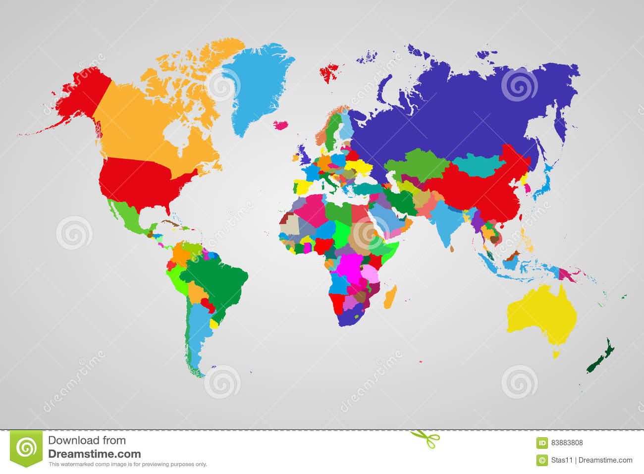 Colored Political World Map With Sovereign Countries And ... on topographic map, mappa mundi, thematic map,