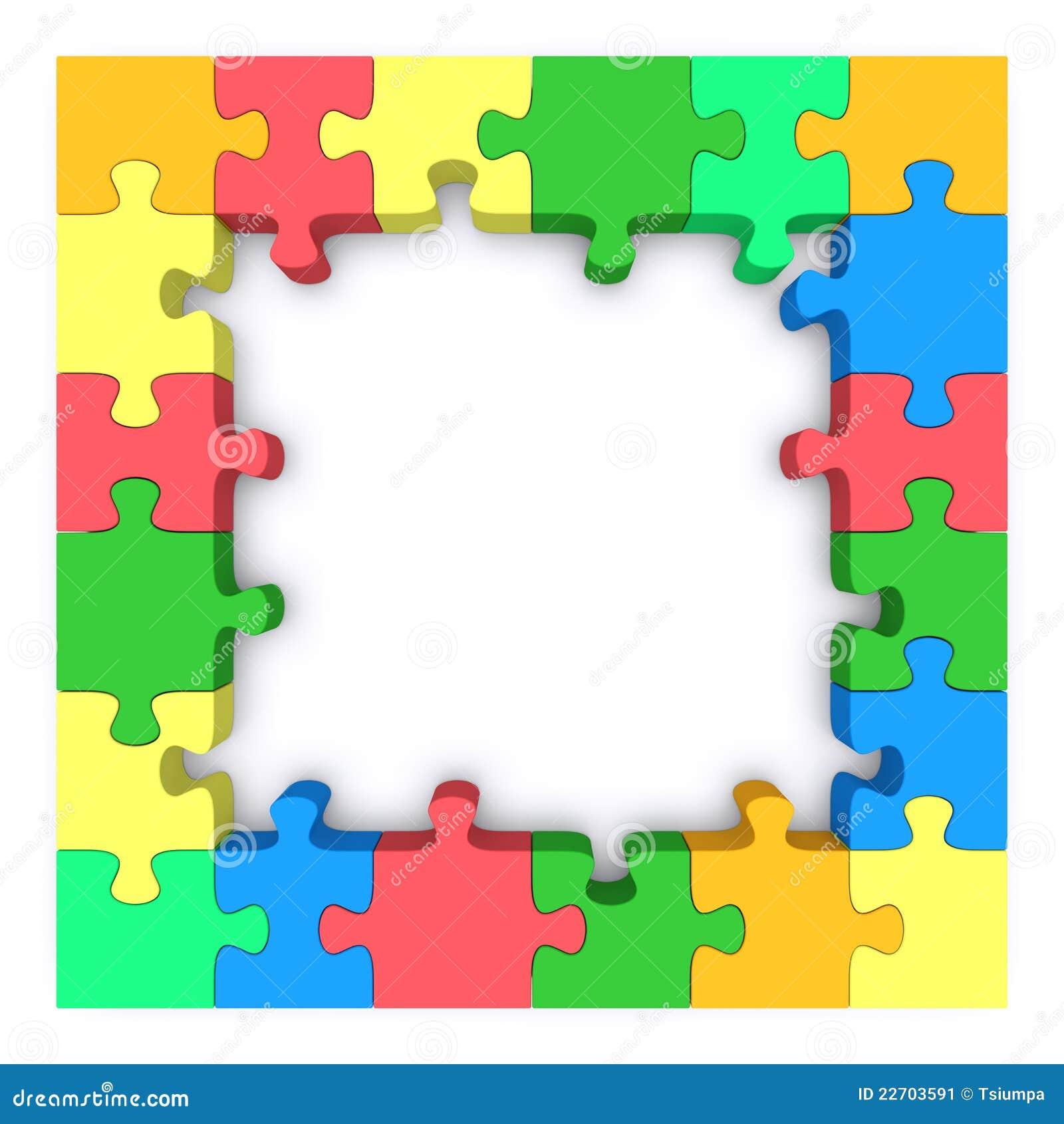 Colored puzzle frame. stock illustration. Illustration of elements ...