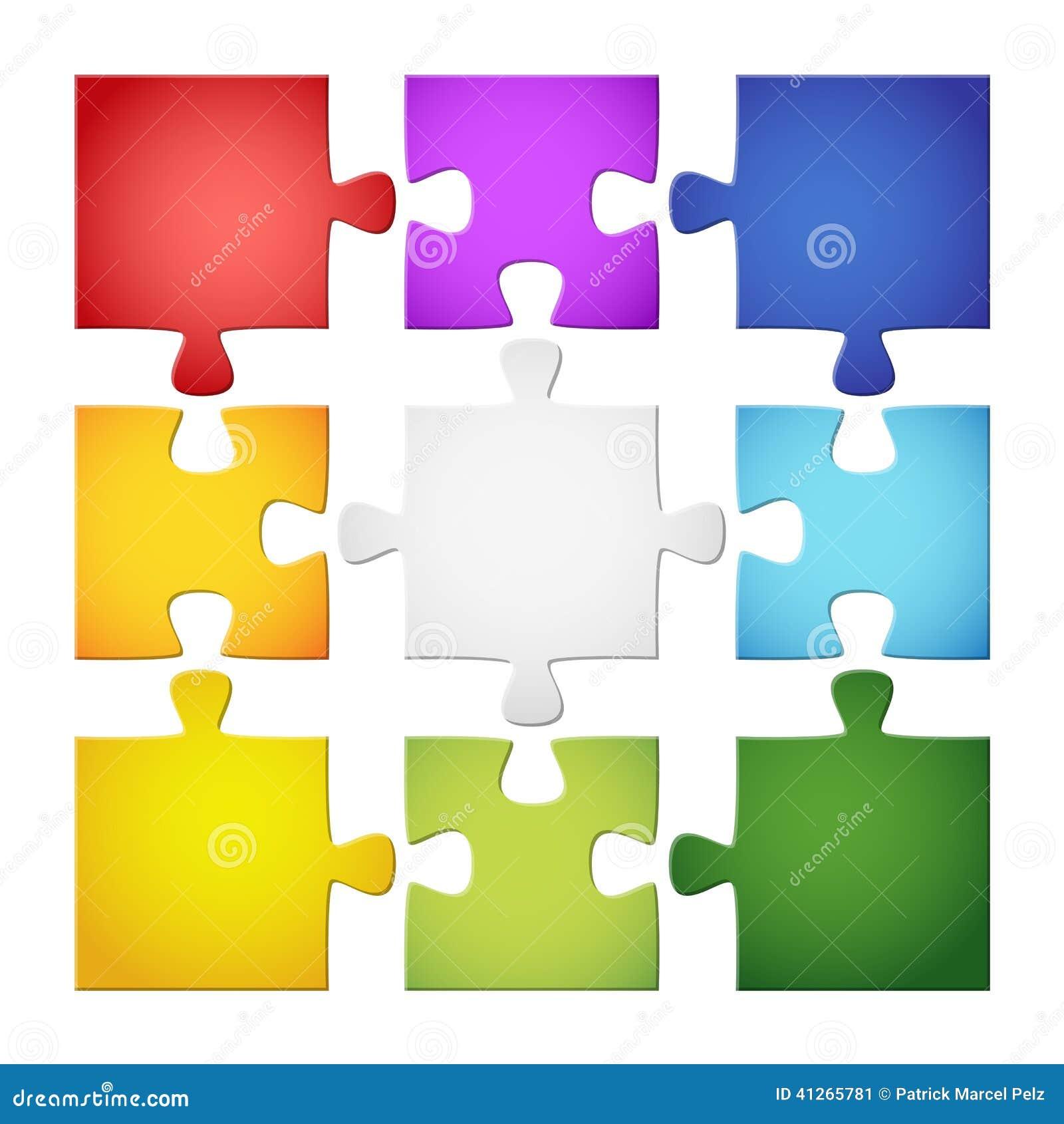 9 colored puzzle pieces
