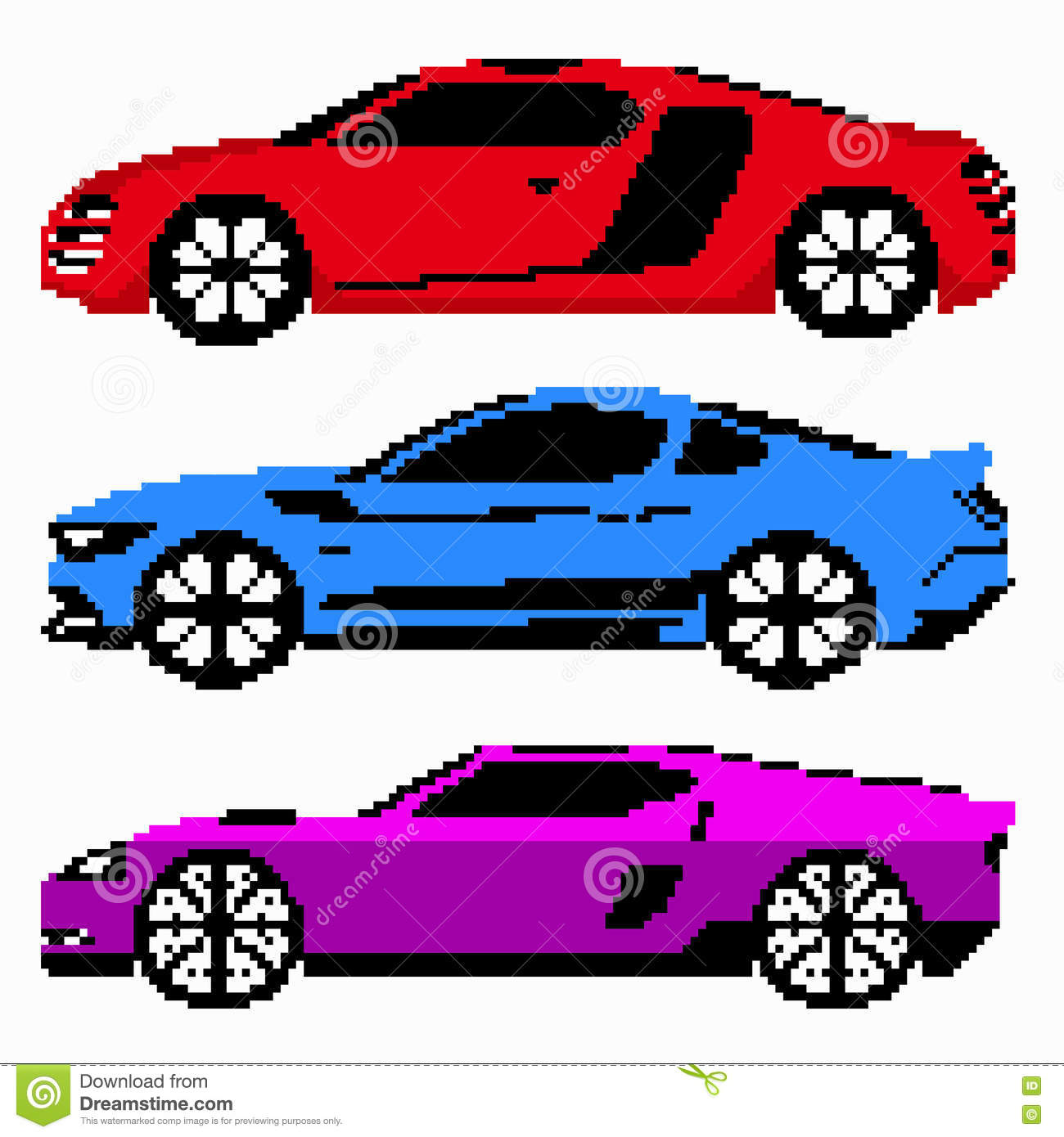 Colored Race Cars Collection Vector Pixel Art Stock Vector