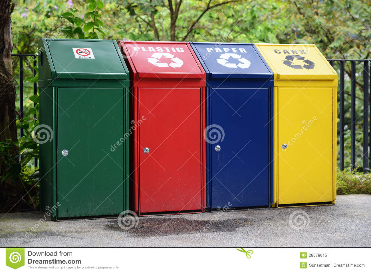 Colored Recycle Bins