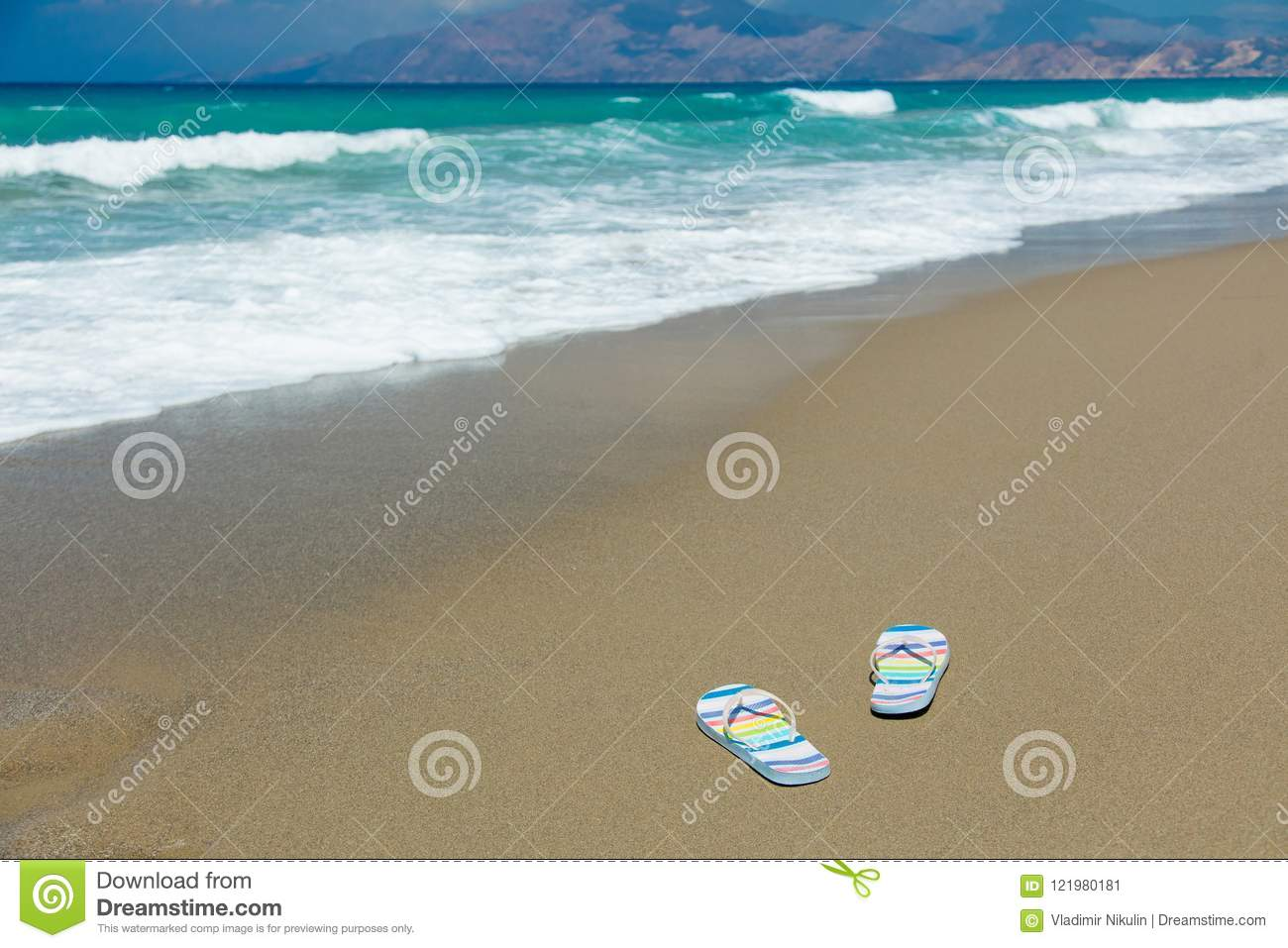bfe4bd5d5 Colored Sandals On Sand On The Beach Stock Image - Image of nature ...