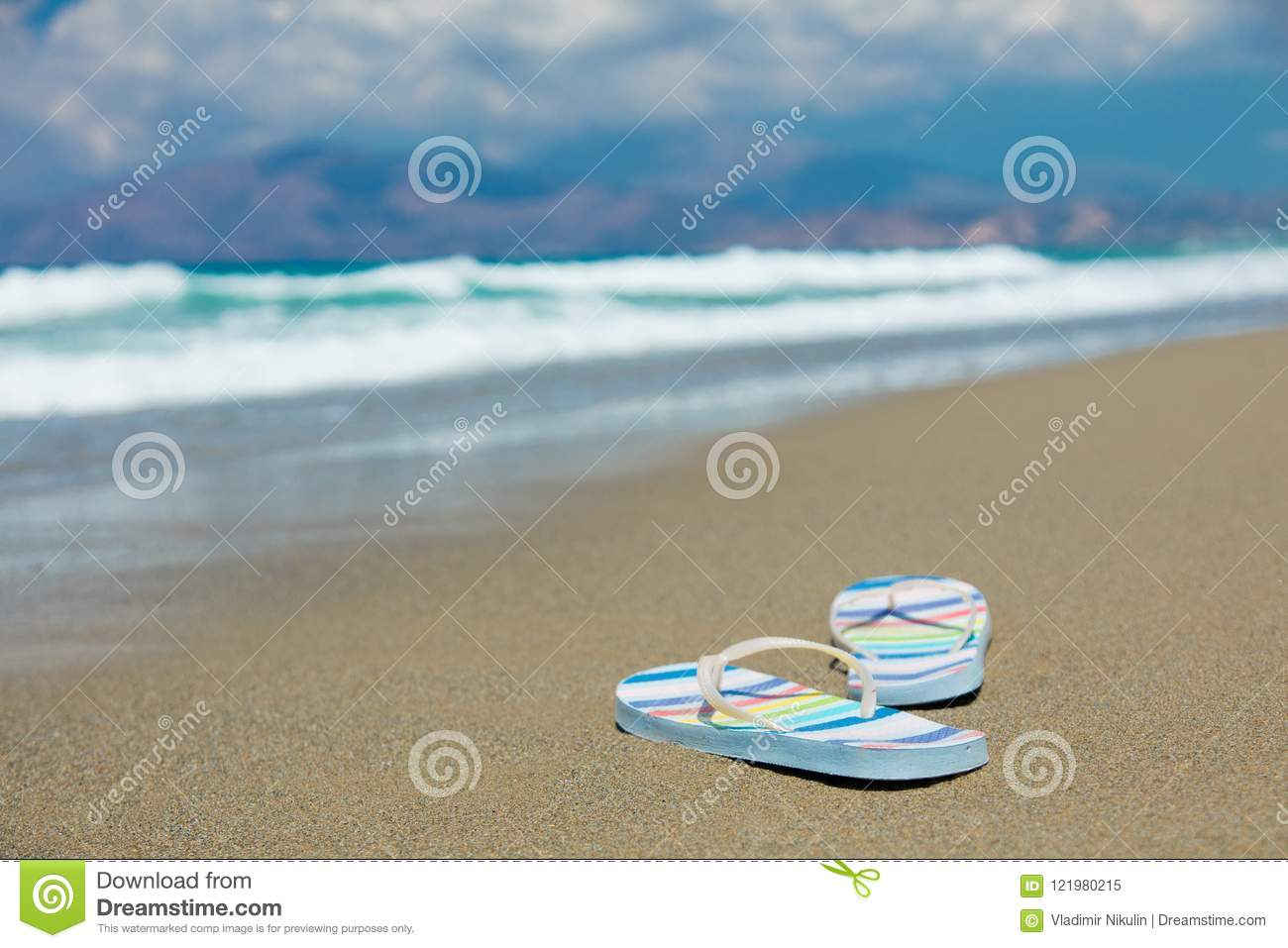 20db86bb0 Colored Sandals On Sand On The Beach Stock Image - Image of greece ...