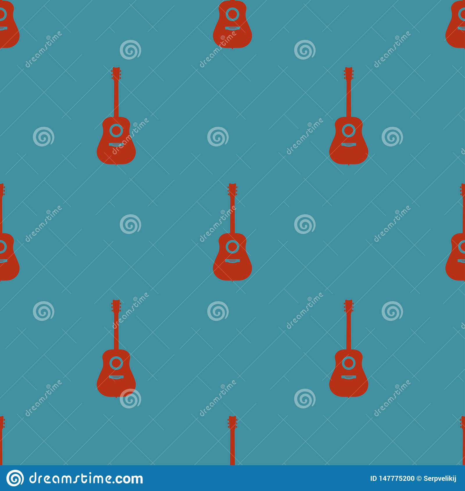 Colored seamless pattern with guitars on a blue background vector illustration